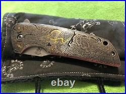 John Barker Custom Hokkaido flipper withPedro Villarrubia engraving folding knife