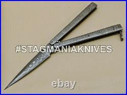 John Henry HAND MADE DAMASCUS STEEL HUNTING DAGGER POCKET KNIFE DOUBLE EDGE