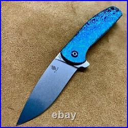 Kizer Gemini Frame Lock Knife Flomascus Titanium ptrn Custom 3.125 Satin Ki3471