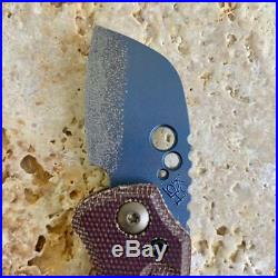 Koch Tools Gnat Friction Folder Knife in Blue Anodized Ti Blade Brown Micarta