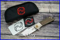 Liong Mah Design Lanny Flipper, S35VN, Green Micarta Scales, New In Pouch