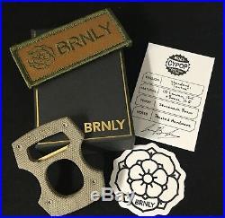 Lucas Burnley BRNLY Cypop Green Micarta Canvas & Brass Bottle Opener