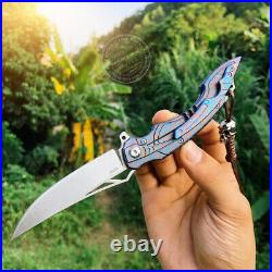 M390 Blade Folding Knife Tactical Rescue Survival Flipper Titanium Ball Bearing