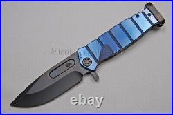 Medford Knife USMC-FF with S35-VN, TitaniumHandles (Faced/Blue) & PVD Hdw (239)