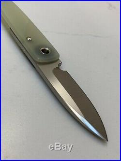 Michael Morris Friction Folder Knife Handmade Natural Jade G10 NEW Custom