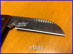 Michael Morris Friction Folding File Knife Sheepsfoot Blade Brown Micarta Handle