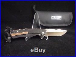 Michael Zieba Custom GAS MASK SKULL Titanium Flipper Knife Copper Spacer MINT