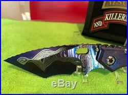 Mick Strider Custom XL Cobalt San Mai Damascus folding knife
