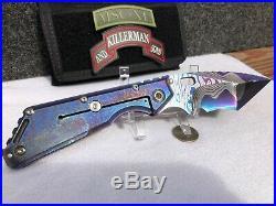 Mick Strider Custom XL San Mai Damascus folding knife