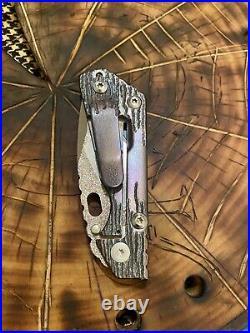 Mick Strider Knife Custom PT Nightmare Grind Groot Textured Titanium & Cpm20cv