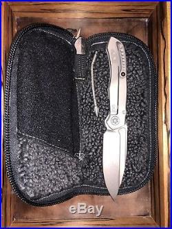 Microtech anax custom titanium folding knife stonewashed blade