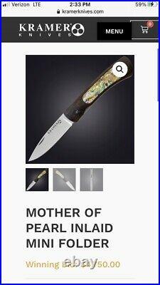 Mint Robert Bob Kramer Mini Folder Folding Knife Inlaid Mother Of Pearl Engraved
