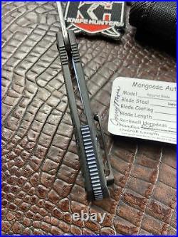 Mongoose Recurve Damasteel Carbon fiber Flipper Knife