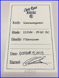 New Chris Reeve Knives, Umnumzaan, Oct, S35VN, Titanium Handle, Free Gift