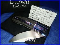 New ESG Flipper Chad Nell Moire Black Timascus Titanium Carbon Fiber Knife $1595