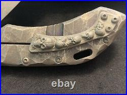 Olamic wayfarer 247 M390 Stone Washed One Of A Kind Skulls Flipper Funky Holes