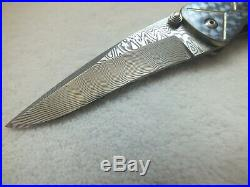 Pat And Wes Crawford Custom Handmade Folding Knife With Damasteel And Abalone