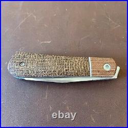 Pena Custom Raptor Front Flipper Liner-Lock Knife In Brown Burlap