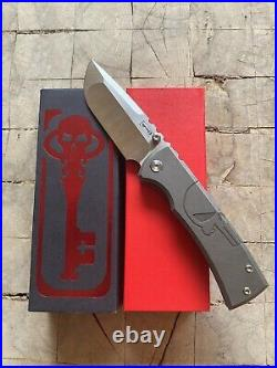 Ramon Chaves Knives Ultramar 229 Titanium Drop Point Knife Custom Punisher Skull