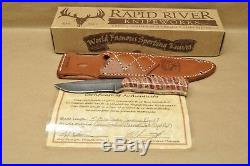 Rapid River Custom Damascus Royal 7 Fossilized Mammoth tooth mosaic pins Knife
