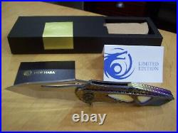 Rare 1 of 1 Custom Dew Hara Knife Polished Damascus Blade / Anodized Titanium