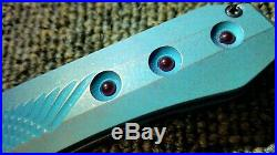 Rare One-off Gavko Custom Flipper, Tri Grind Blade And Inset Rubies In Ti Handle