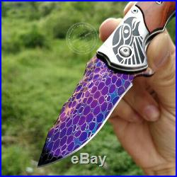 Rescue Tactical Dragonskin Damascus Folding Knife Hunting Seller Emazing Deal