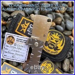 Rich Made Knives Zombie Killer Frame Lock Cleaver Blurple Ti w Alabama Damasteel