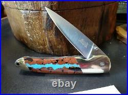 SANTA FE STONEWORKS 4 POCKET KNIFE With VEIN TURQUOISE HANDLE1-SIDE 440HC BLADE