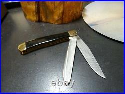 Santa Fe Stoneworks 4 1/4 Pocket Knife Cholla Wood & Turquoise Han Damascus Bla