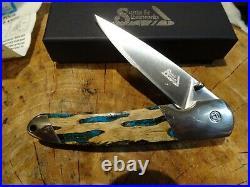 Santa Fe Stoneworks 4 1/8 Cholla Pocket Knife Wood & Turquoise Handle 440hc Bla