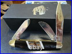 Santa Fe Stoneworks 4 Pocket Knife 3-blade Stockman Handle Mammoth Jet, Mop