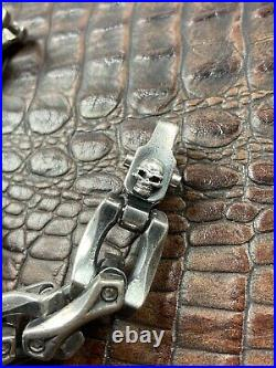 Steel Flame Axe Link Silver Bracelet With Darkness Clasp