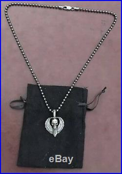 Steel Flame Darkness Mini Guardian Sterling Pendant & SF 3mm Seed Bead Necklace