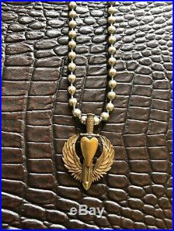 Steel Flame Love Conquers All Royal Bronze Pendant & Ball N Chain Necklace NEW