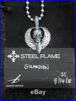 Steel Flame XL Darkness Guardian Sterling Silver Pendant & Dogtag Chain Necklace