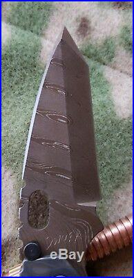 Strider Custom SMF Mick's Brown Damascus Holy Grail Chisel Grind Set DDC MSC