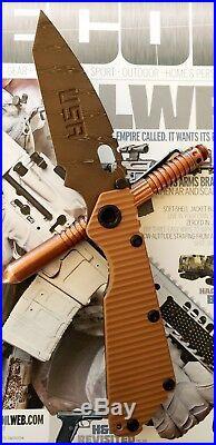 Strider Custom SMF Mick's Brown Damascus Holy Grail Tanto Chisel Grind DDC