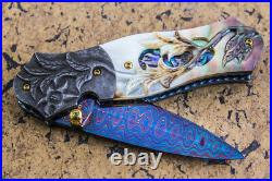 Suchat Jangtanong Custom Folding Knife Color Damascus Black Pearl Flower Carved