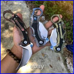 Tactical Karambit Knife Claw S35vn Blade Folding Knives Titanium Carbon Fiber