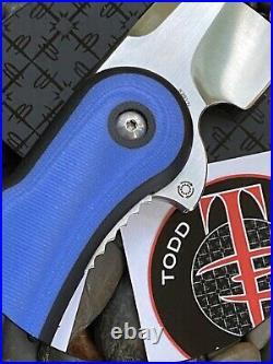 Todd Begg Glimpse Folder Steelcraft Series Black n Blue G10 Inlay