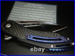Todd Begg Knives Dress Mini Glimpse Blue Anodized Titanium Carbon Fiber Knife