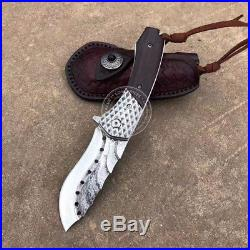 Vg10 Core Damascus Hunting Knife Camping Army Rescue Folding Pocket Knife Sheath