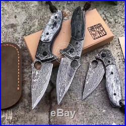 Vg10 Damascus Hunting Knife Black Folding Knife Camping Army Rescue Bone Handle