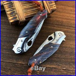 Vg10 Damascus Steel Folding Knife Rescue Camping Pocket Edc Flipper Ball Bearing