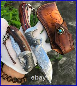 Vg10 Steel Damascus Folding Knife Pocket Knives Sheath Assist Flipper Knife Wood