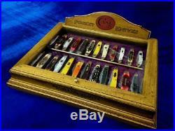 Vintage Case Pocket Knife Display Case Collectors Antique Counter Top Display