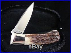 W. D. PEASE USA CUSTOM KNIFE NARLY STAG SIDE LOCK FOLDING HUNTER With CASE 93510