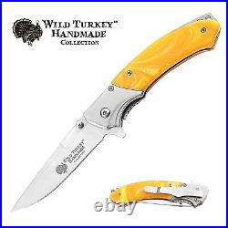 Wild Turkey Handmade Spring Assisted Two Tone Pearl Handle Folding Pocket Knife