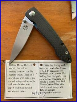 William Henry Carbon Fiber Folding Knife T10-CF (Rare, Discontinued)